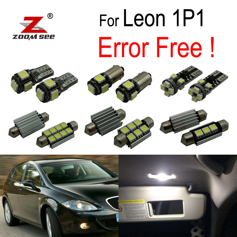 12pcs 100% Error Free LED Interior Reading Dome Map Lights Bulb Kit For Seat Accessories For Leon MK2 1P 1P1 (2005-2012)