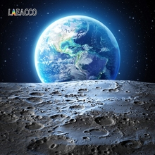 Laeacco Universe Space Moon Surface Earth Scene Baby Photography Background Customized Photographic Backdrops For Photo Studio 100% hand painted pro dyed muslin backdrops for photography studio customized photographic background wedding backdrops 10x10ft