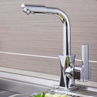 Rotatable Modern Cold Hot Water Home Kitchen Fast Mixer Tap Basin Faucet Single Hole 360 Degrees Bathroom Durable Deck Mounted