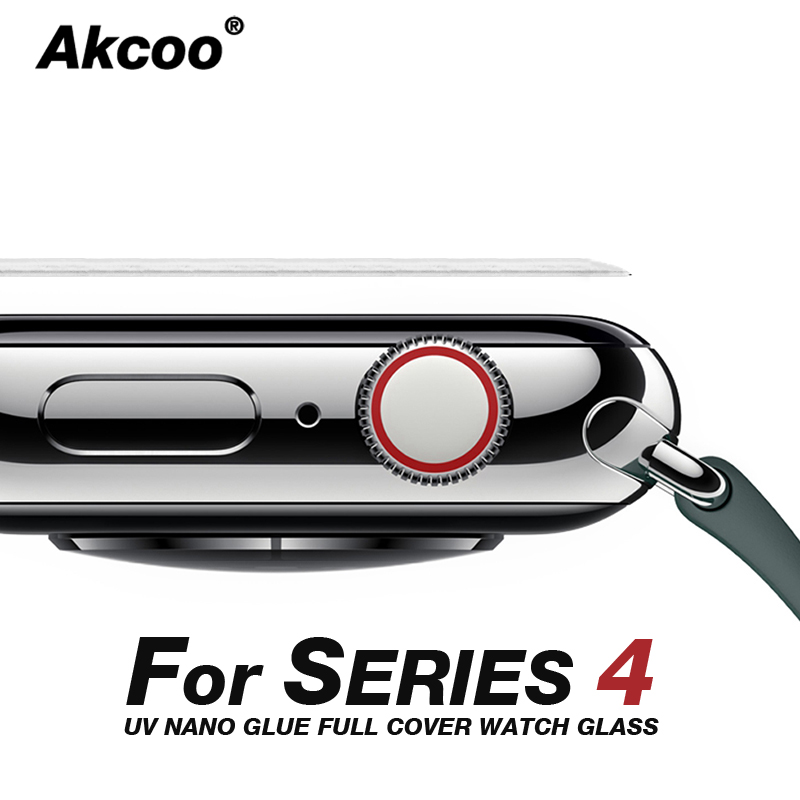 Akcoo 6D Full Cover For Apple Watch 4 Screen Protector UV Full Glue Glass Film For Apple Watch 4 3 2 1 40 44 38 42mm Screen Film
