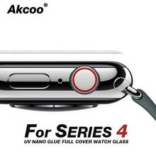цена на Akcoo 6D Full Cover For apple watch 4 screen protector UV Full glue glass Film for Apple Watch 4 3 2 1 40 44 38 42mm screen film