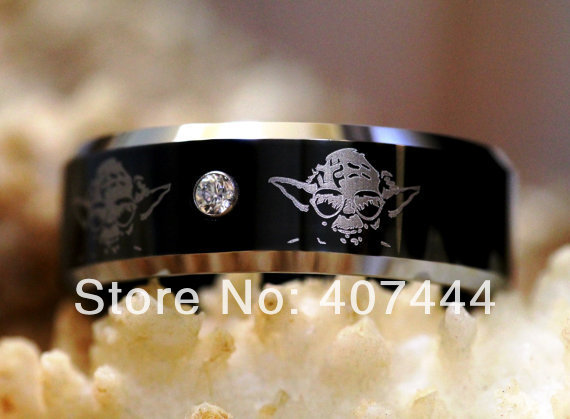 Free shipping ygk jewelry hot sales 8mm star wars yoda his for Star wars mens wedding ring