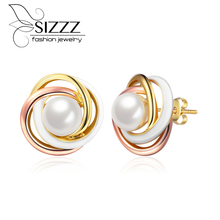 SIZZZ European and American fashion luxury three-color simulated-pearl stud earrings jewelry for women
