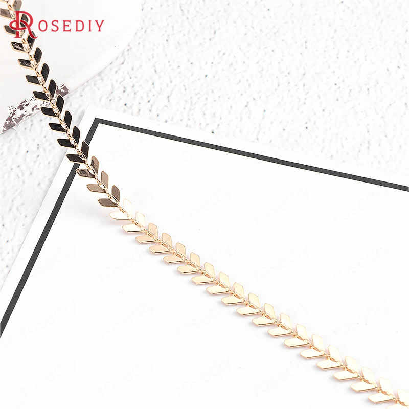 50CM Per Piece Chain Width 6MM 24K Gold Color Brass Tree Leaf Necklace Chain High Quality Diy Jewelry Findings Accessories