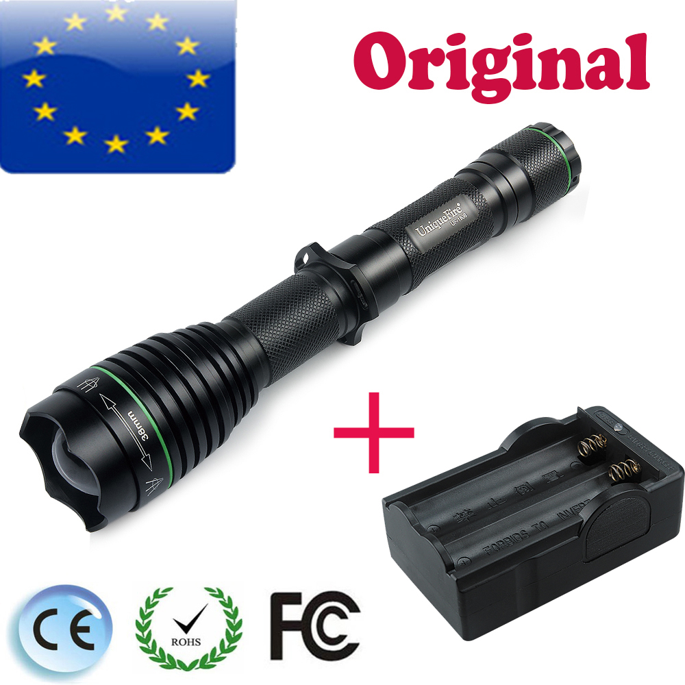 UniqueFire UF-1508-38 Cree XML2/XML T6 Rechargeable LED Flashlight Torch Lamp Power By 18650 Battery(Black)+Two Slot Charger 3t6 led flashlight cree xml 5mode lamp waterproof lanterna tactical denfense torch with rechargeable 3x18650 battery and charger
