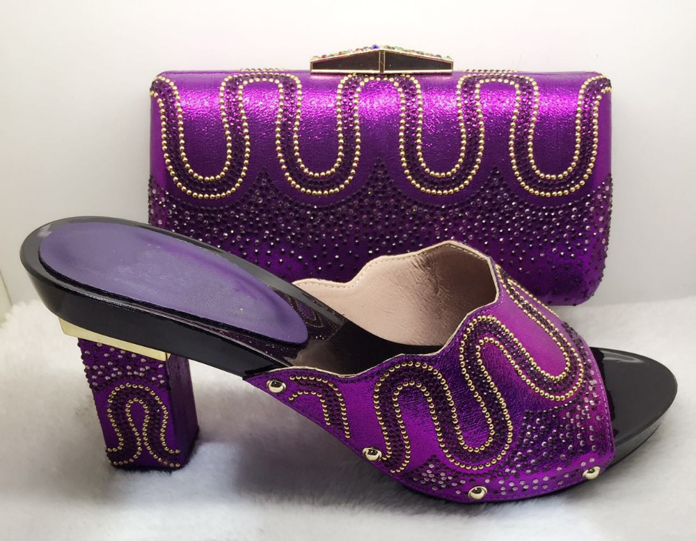 Purple Classics Italian Wedding Shoes And Bags To Match For Party Top Quality African Shoes With