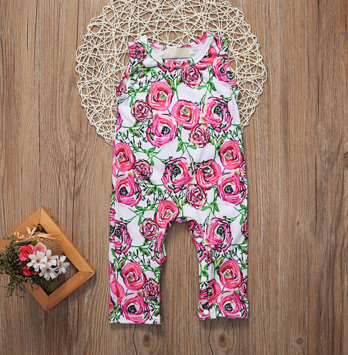 Newborn Baby Girl Clothing Tops Floral Cotton Sleeveless Cute Flower Romper Jumpsuit Infant Toddler Clothes Baby Girls newborn baby clothes cute cartoon baby rompers sleeveless one piece jumpsuit baby girl romper infant clothing baby costumes boys