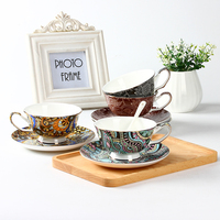 Bohemian Big Flower Coffee Cup And Saucer Bar Afternoon Tea Cup Supply Colorful Garden Style Big