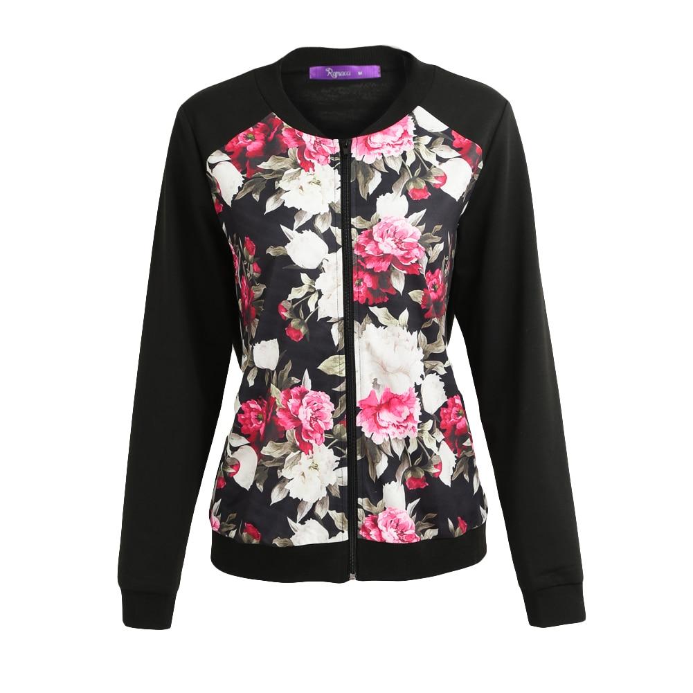 Autumn Spring Women Floral Print   Basic     Jacket   Coat Zipper Long Sleeve Pocket Bomber Ladies   Jacket   Streetwear 2019 Black Coats