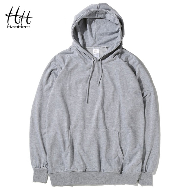 HanHent Solid Color Hoodies Men Casual Blank Thin Sweatshirts Classic Spring Autumn Basic Hoody Coats Male Black Gray Plus Size