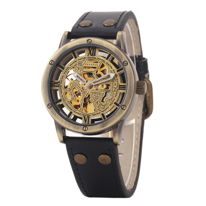 Men Wristwatches Bronze Antique Leather Self Widing Wrist Watch Steampunk Skeleton Power Automatic Male Mechanical Watc retro hollow skeleton automatic mechanical watches men s steampunk bronze leather brand unique self wind mechanical wristwatches