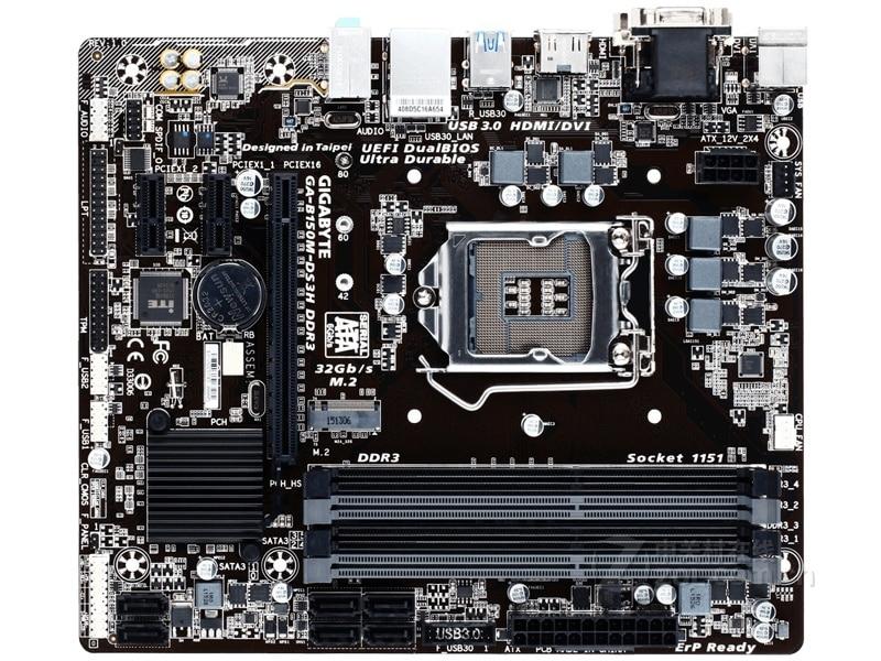 Gigabyte GA-B150M-DS3H DDR3 Desktop Motherboard B150M-DS3H B150 LGA 1151 Core I7 I5 I3 DDR3 32G SATA3 USB3.0 M.2 Micro-ATX