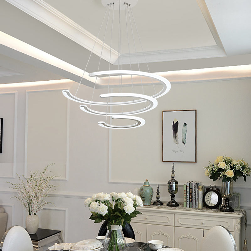 Modern Ring Led Pendant Light Fixture With Remote Control Lustre Kitchen Dining Room White Hanging Lamp Decor Home Lighting 220VModern Ring Led Pendant Light Fixture With Remote Control Lustre Kitchen Dining Room White Hanging Lamp Decor Home Lighting 220V