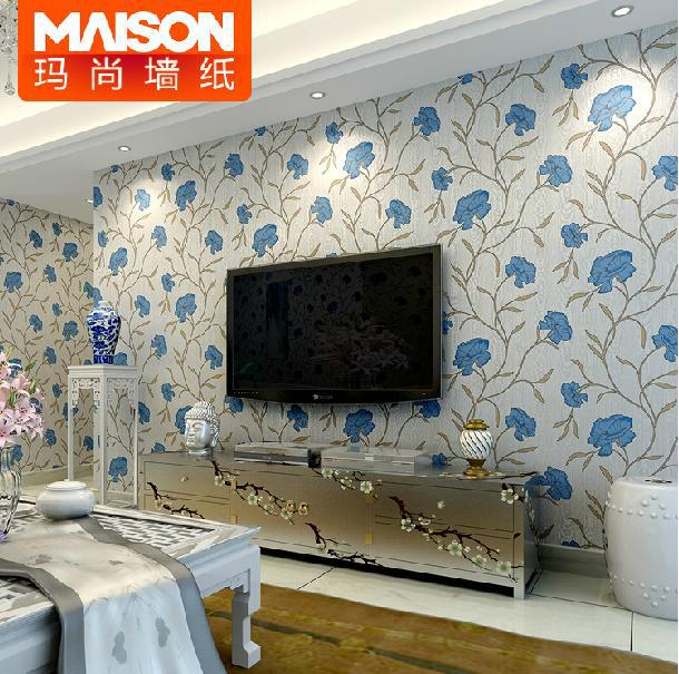 Modern Chinese Style Natural Imported Non-Woven Wallpaper Bedroom Elegant Living Room Sofa TV Background Wallpaper