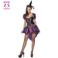Multicolore Fancy Dress Con Il Rivestimento di Carnevale Outfit Cosplay Impertinente e di Buon Cuore Costume da Strega Costumi di Halloween Per Le Donne