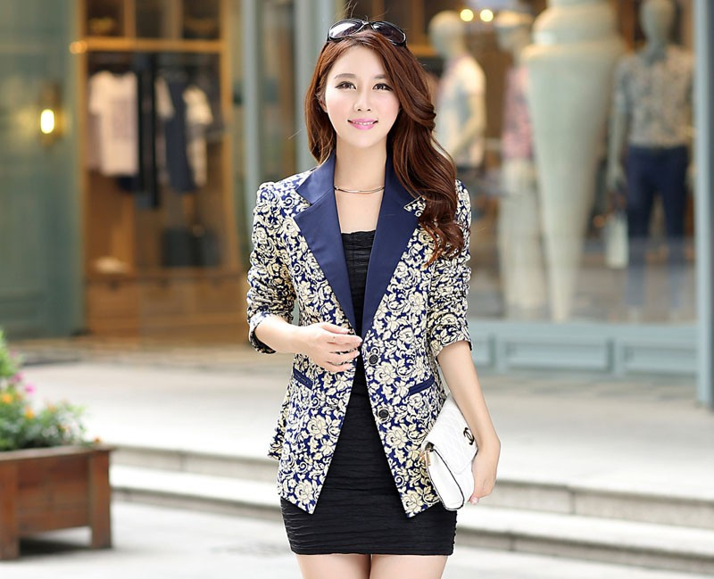 Blazers Contemplative 2017 High Quality Autumn New Women Work Wear Suit Coat Small Female Fashion Slim Long Sleeved Candy Color Blue Black