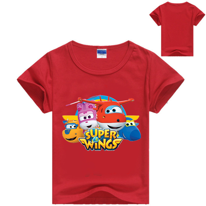 3-14Years Super Wings Clothes Boys Long Sleeve T Shirt with Spandex Girls Tshirt Kids Cartoon T-shirts Fashion Nova Top