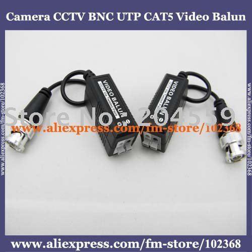 100pcs Camera CCTV BNC UTP CAT5 Video Balun Twistered Pair Transceiver Cable AT-C12-19B