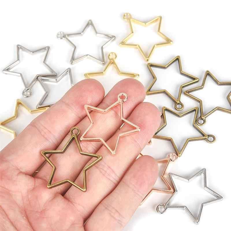 5 قطعة إطار الحافة مفتوحة الظهر الجوف Charms قلادة سبيكة الراتنج صينية الحافة ل أساور القلائد مجوهرات من مادة الراتنج صنع النتائج