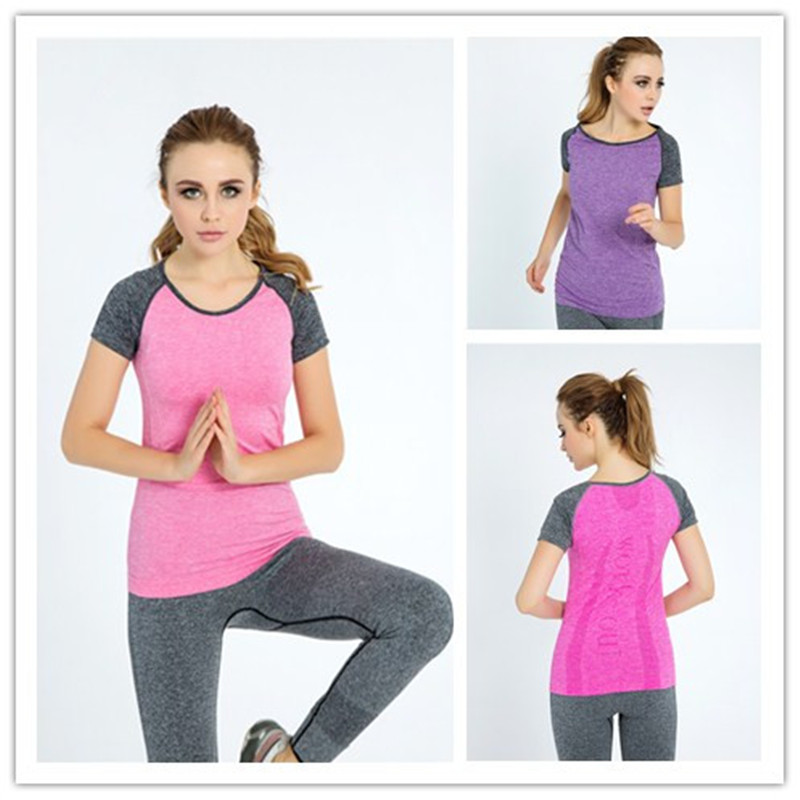 Womens Yoga Shirts Running Elastic Breathable Gym Fitness Comfortable T Shirt Ladies Dry Quick Sports Compression Undershirts