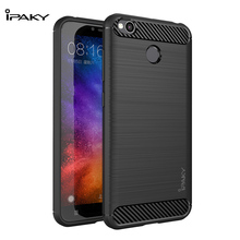 IPAKY For Xiaomi Redmi 4X Case Original Brand Carbon Fiber Soft Flexible TPU Back Cover Silicone redmi 4x Funda Capa