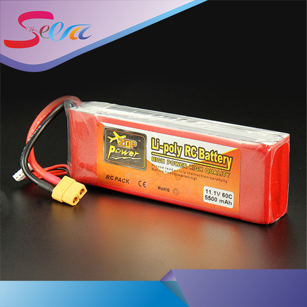 2pcs New ZOP Power 11.1V 5500mAh 3S 60C Lipo Battery XT60 T Plug Rechargeable Lipo Battery RC Battery For RC Helicopter Part 2017 liitokala 2pcs new protected for panasonic 18650 3400mah battery ncr18650b with original new pcb 3 7v