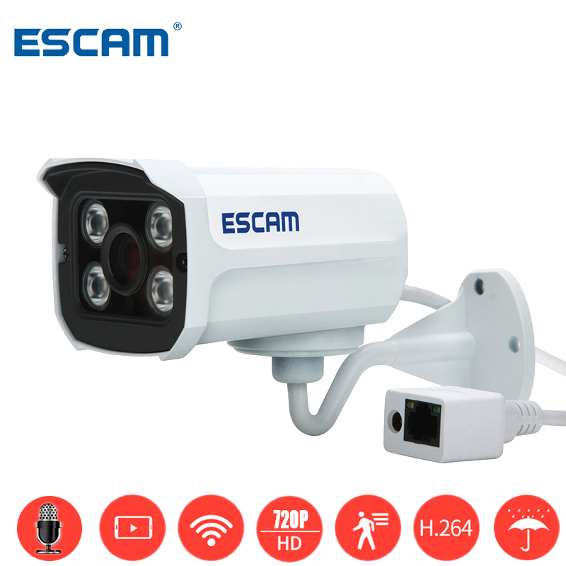 ESCAM QD300 HD 720P Onvif Network Mini Wired IR-Bullet Camera IR 15m Waterprof P2P Cloud Outdoor Network CCTV Security IP Camera escam hd3100 ir ip security camera