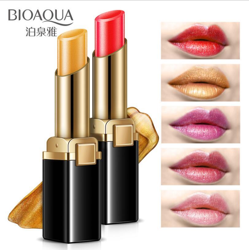 5 Colors Gold Lipstick Brilliant lips Gloss Refreshing Long Lasting Li