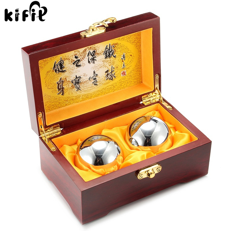 KIFIT Practical 2Pcs Metal Exercise Hand Wrist Solid Chrome Baoding Balls Chinese Health Exercise Therapy Stress Massager Balls kifit newest chinese health daily exercise stress relief handball baoding balls relaxation therapy ying yang blue massage tool