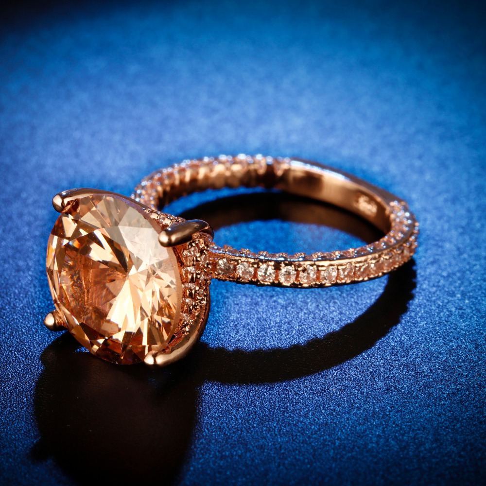 Original Design Handmade cz unique style round cut rose gold plated Ring Cubic Zirconia Hot Ins sterling silver 925 in Rings from Jewelry Accessories