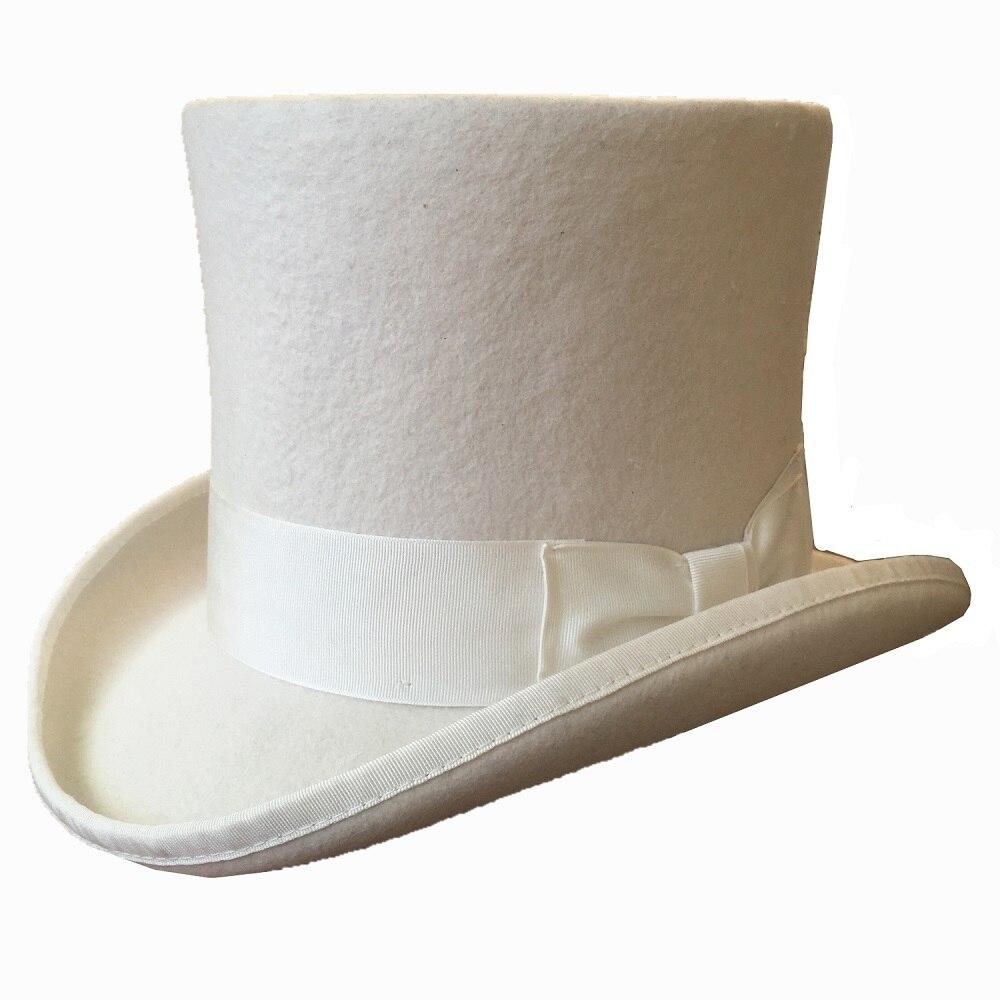 White 18 0cm 7 Wool Felt High Top Hat Groom Wedding Hat Topper Cylinder Hat