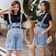 Summer Fashion Loose Denim Maternity Shorts Casual Korean Big Pocket Pregnancy Strap High Waist Dropshipping 2019