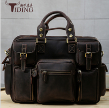 High quality cowhide crazy horse leather genuine leather male Larger capacity vintage travel Luggage Suitcase Tote Bag handbags