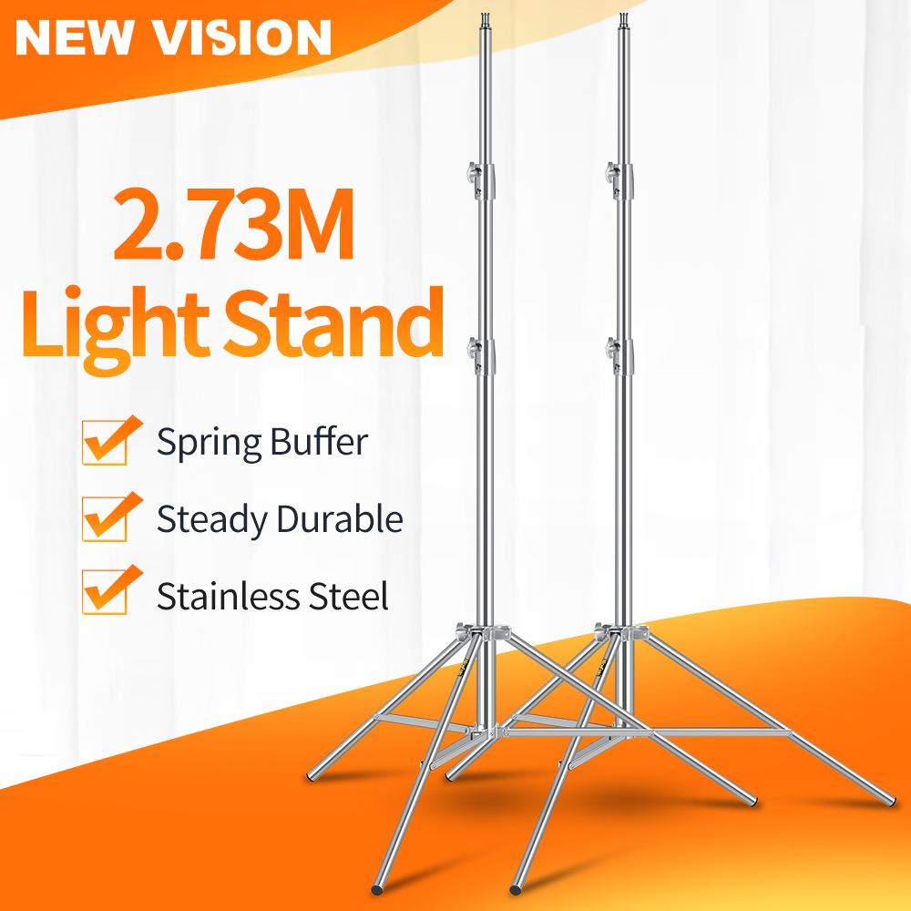 2pcs Stainless Steel 2 73M Heavy Duty Light Stand Tripod with for Photo Studio Softbox Video