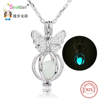 Butterfly Pattern Pendant Necklace Authentic 925 Sterling Silver Jewelry Accessories Pendant Chain Necklaces For Women
