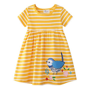 Image 3 - summer girl dress new fashion baby kids summer clothes cartoon stripes cotton dress for baby girl baby princess dress