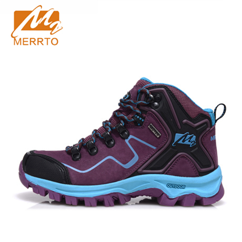 2017 Merrto Womens Hiking Boots Breathable Waterproof Outdoor Sports Shoes Full-grain leather For Female Free Shipping MT18572 yin qi shi man winter outdoor shoes hiking camping trip high top hiking boots cow leather durable female plush warm outdoor boot