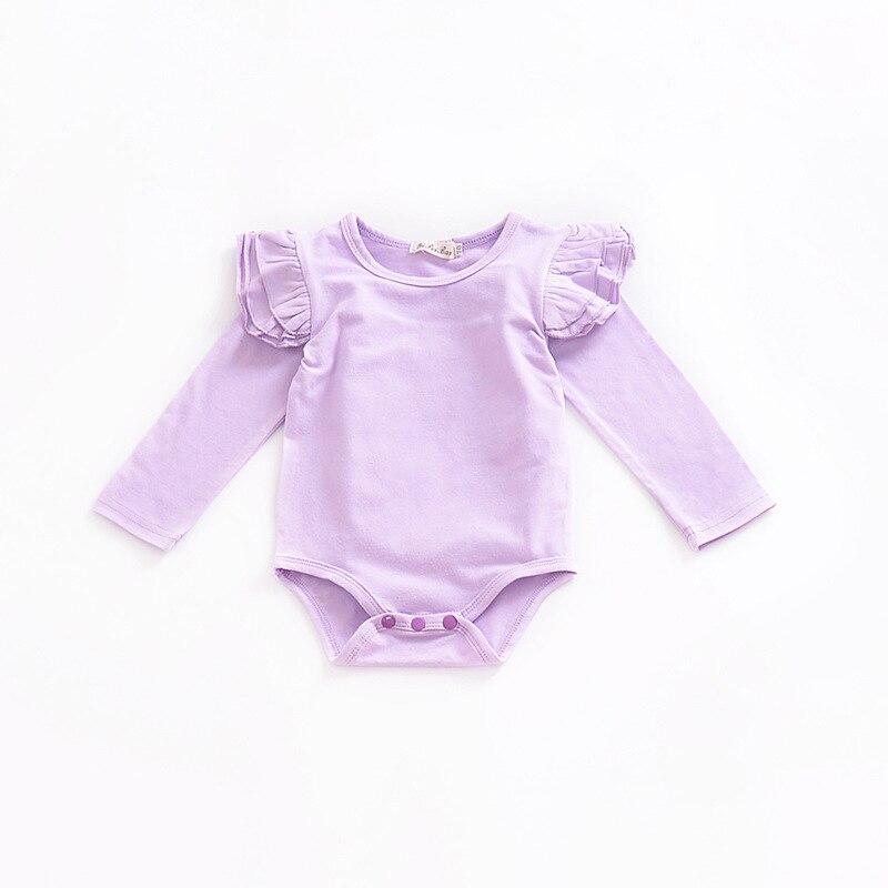 2018 Newborn Solid Color Baby Onesie Baby Bodysuit Toddler Bodysuit Baby Little Wing Long Sleeve Newborn Onesie Light Purple