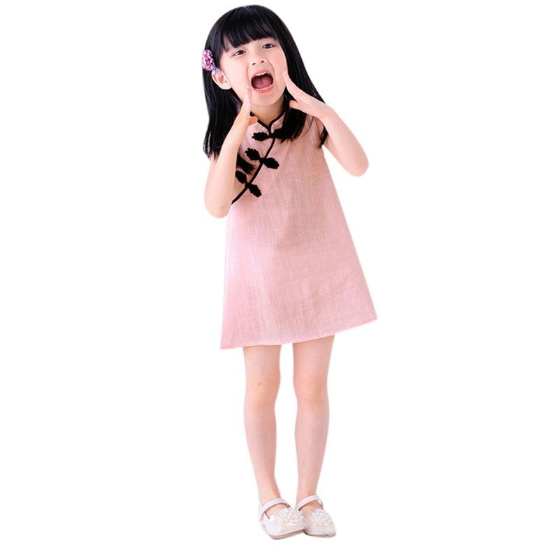 Bebé Niñas Primavera Verano vestido sin mangas de estilo chino ...
