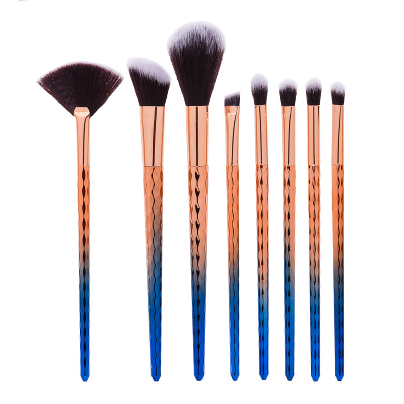 8pcs/set Angle Shading Fan Brush Loose Powder Eyeshadow Facial Blending Brush Smoked Naked Make Up Brush for Face Beauty deep face cleansing brush facial cleanser 2 speeds electric face wash machine
