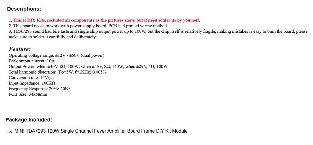 Fantastic Mini Tda7293 100W Single Channel Fever Amplifier Board Frame Diy Kit Wiring Cloud Nuvitbieswglorg