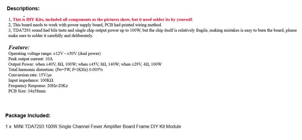 Peachy Mini Tda7293 100W Single Channel Fever Amplifier Board Frame Diy Kit Wiring Digital Resources Sapebecompassionincorg