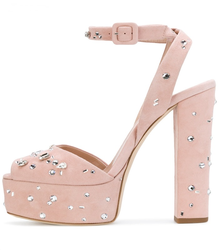 Elegant Crystal Decoration Chunky Heels Sandal for Woman Sexy Peep Toe Ankle Strap Platform Dress Shoes Pink Suede Sandal