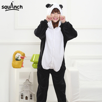 Black White Panda Costume Funny Animal Cartoon Cry Panda Pajama Men Women Adult Party Cosplay Set