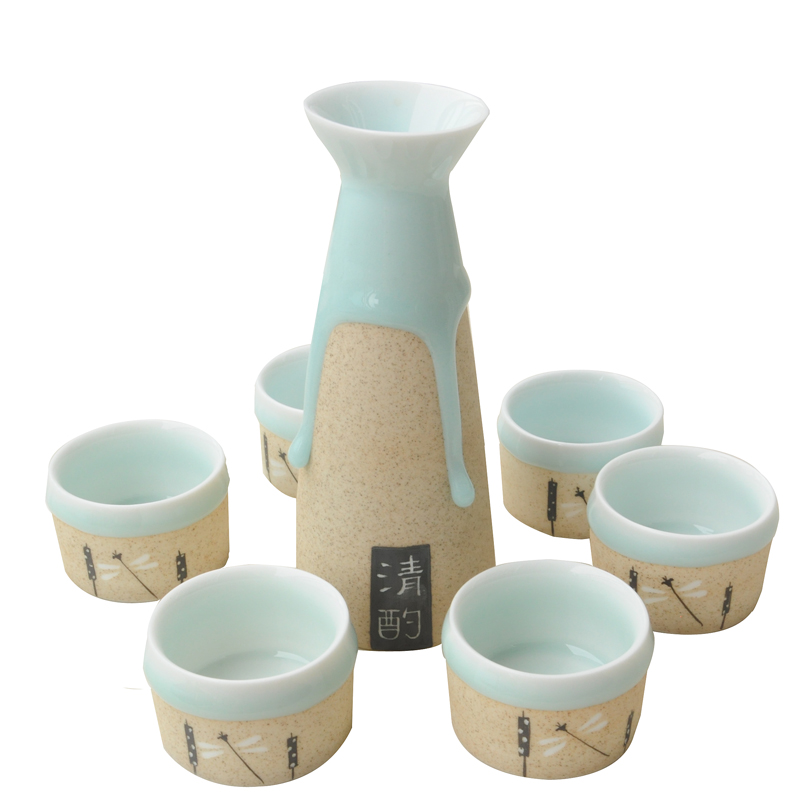 2017 Jingdezhen céramique faite main saké Japonais vapeur en verre verre de vin Fenjiu flux glaze set à vin costume boutique cadeau boîte