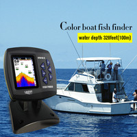 LUCKY FF918 C100DS Dual Frequency Boat Fish Finder Dual Frequency Sonar Sounder Alarm 328ft 100m Water