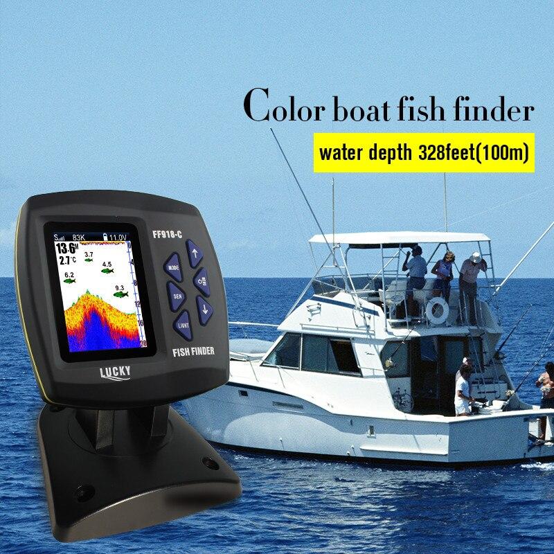 LUCKY FF918-C100DS doble frecuencia buscador de peces doble frecuencia Sonar Sounder alarma 328ft/100 m profundidad del agua barco Fishfinder