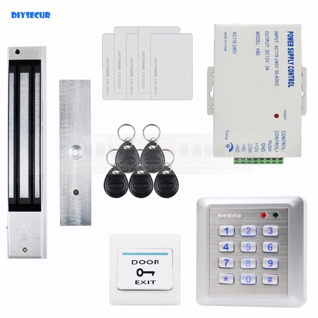 DIYSECUR Waterproof 280KG Magnetic Lock 125KHz RFID Reader Password Keypad Door Access Control Security System Door Lock Kit W4