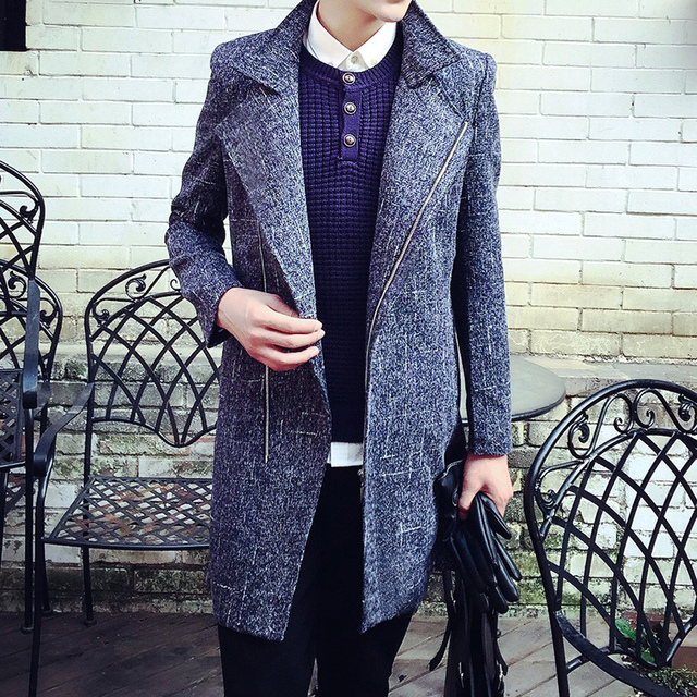 2017  male slim wool coat outerwear personalized fashion  male The singer's clothing M-XXL