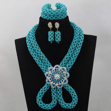 New Blue Romantic Fashion Blue Beads Crystal African Jewelry Set Bride Gift Costume Women Necklace Set 2016 Free ShippingABL745